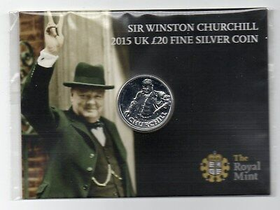 The Royal Mint Sir Winston Churchill 2015 UK £20 Fine Silver Coin - Mint Sealed