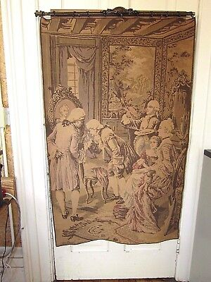 Antique Tapestry Made in France Old World Charm Wall Hanging Aubusson Woven Fren