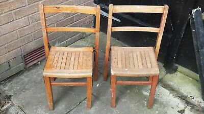 2 Mid Century Vintage 1950s/60s Old Wooden Stacking School Chairs