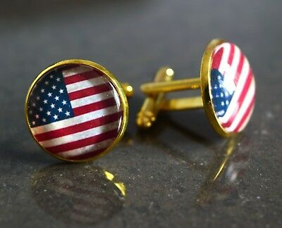 USA American Flag cufflinks. handmade unique gift. Birthday, wedding, xmas gift