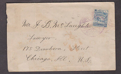 Nicaragua - 1896 Cover with Scott #84 stamp mailed at Bluefields to Chicago, Ill