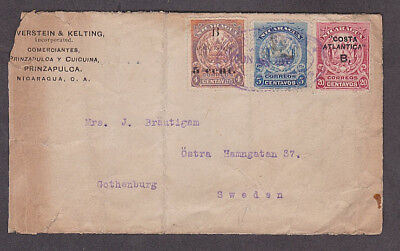 Nicaragua - 1907 Cover with Costa Atlantica stamps mailed to Sweden