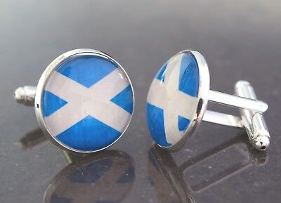 Scottish Flag, The Saltire, cufflinks. Handmade unique gift. Birthday, christmas