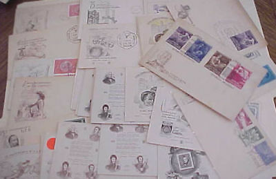 Argentina 39 Diff. Fdc 1949-1956 Cachet Unaddressed