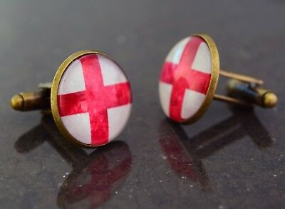 English Flag St George Cross cufflinks. handmade unique gift. Birthday, x-mas