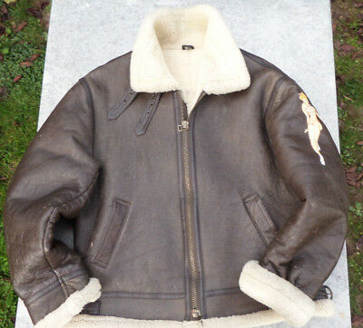 blouson type pilote  ww2 B3 air force B17 avec pin up ideal Jeep