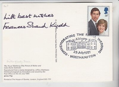 Gb Stamps Signed Phq First Day Card Diana Mother Frances Shand Kydd 1936-2004