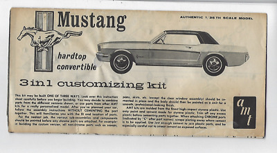 Vintage AMT Mustang 3in1 Customizing Kit 1:25 Model Original Instructions