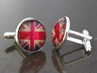 Union Jack Flag design cufflinks. Handmade to order, christmas gift, unusual