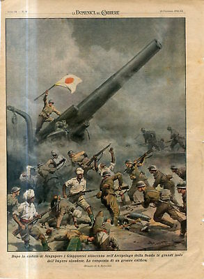 1942 WW2 After the fall of Singapore the Japanese attack Malay Archipelago Print