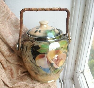 Old Antique English Art Deco 1930s Luster Fruit Biscuit Barrel Cookie Jar NMP