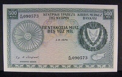 1976 Cyprus, Central Bank of, 500 Mil, Crisp High Grade ** FREE U.S. SHIPPING **