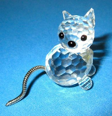 Swarovski Vintage Silver Crystal Cat with Articulated Silver Tail Figurine