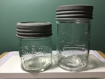 "1940 1/2 Imperial Pint Crown Jar and Pint ""no date"" pre 1930 Crown Canning Jar"