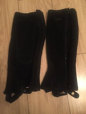 Shires Black suede half chaps new without tags. Large