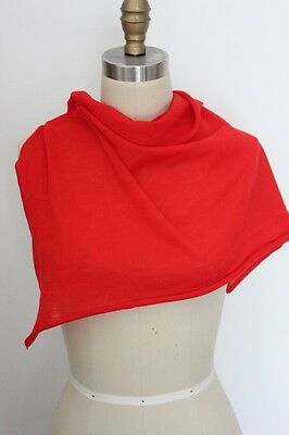 Vintage Estate Italy Bright Red Wool Single Knit Jersey Knitted Fabric  R005