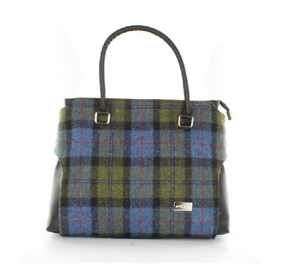 "Mucros Weavers Bag - ""Emily"" Style, 100% Wool, Made in Ireland - Blue Plaid"