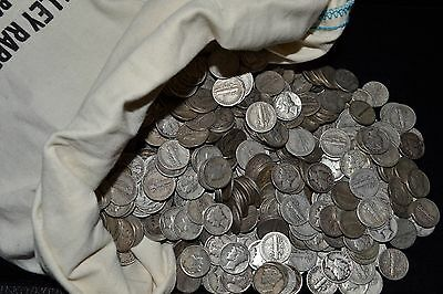 ROLL OF Mercury Dimes (50) Coins U.S.90% Silver Various Dates NO RESERVE!!!