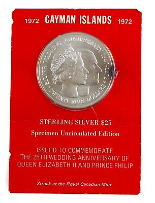 1972 Cayman Islands Specimen Uncirculated Edition Sterling Silver $25 Coin