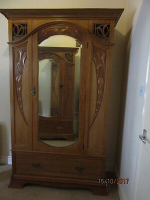 Antique Art Nouveau Satinwood Wardrobe. One of a pair