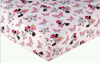 Disney Baby Simply Adorable Minnie Mouse Butterfly Flowers Crib Fitted Sheet