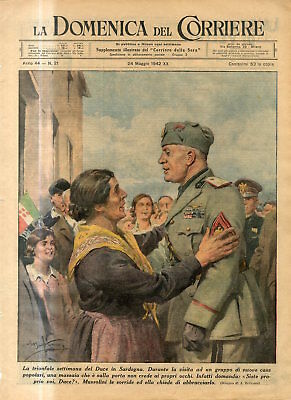 1942 WW2 Leader of fascism Duce Mussolini in Sardinia woman asks to hug him