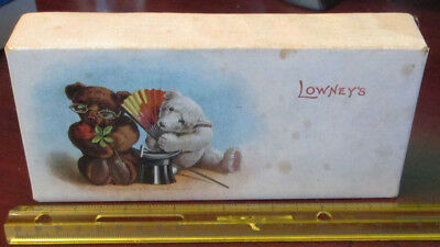 Antique Old Vintage Lowney's Chocolate Candy Teddy Bear Box Early 1900's