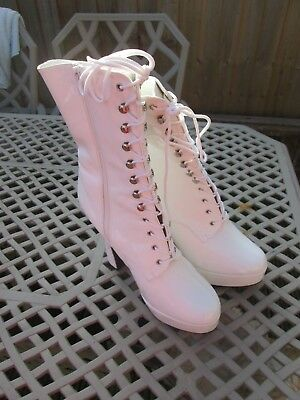 Pleaser White Patent Boots Size Uk 11
