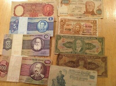 Great Mix Of 10 South American Banknotes,Condition Good To V. Fine.
