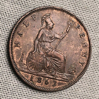1862 UK / Great Britain Half Penny - Victoria - Nice Details #CH103