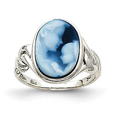 14k White Gold Heavens Gift Agate Cameo Ring XU482 Size 7