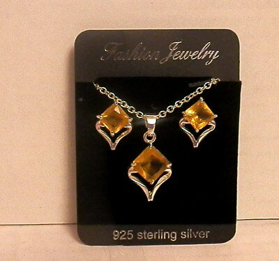 STERLING SILVER NECKLACE & EARRINGS with STONES - Nib
