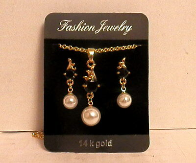 14 K GOLD NECKLACE & EARRINGS with BLACK STONES & PEARLS - Nib