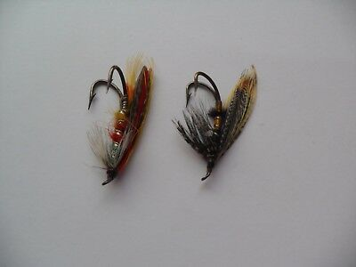 Fancy Grey Turkey & Black & Teal Size 2 & 3 Vintage Salmon Flies Date 1930-40