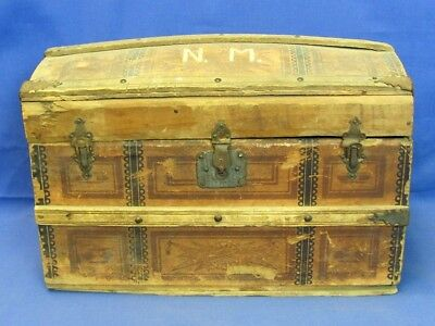 Antique Miniature Salesman Sample Paper Covered Wood Brass Travel Trunk Chest