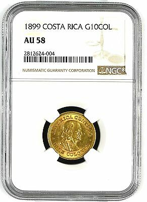 Costa Rica: 10 Colones 1899, Ngc Au-58, Gold Coin Km#140