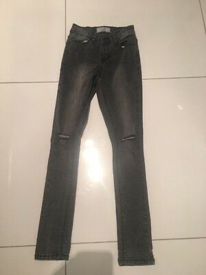 New Look Age 12 Girls Super Skinny Jeans Grey Faded Black Ripped
