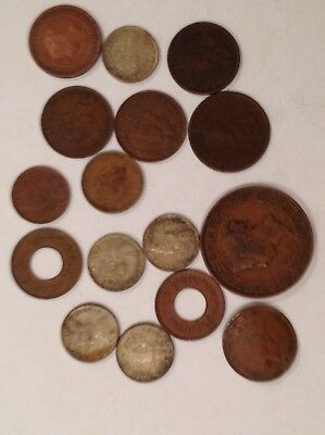 16 X India Ceylon Coins, Great Mix, Incl. V. Fine 1890 5 Cents Ceylon.