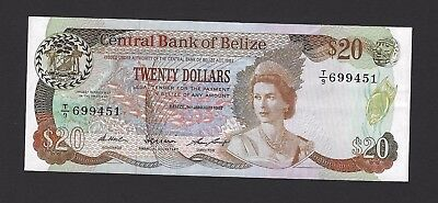1987 Belize $20 Dollars, Very Crisp and 100% Original, VF+/ EF w/EPQ P-49b