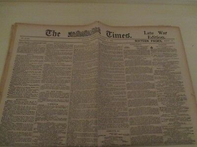 THE TIMES OCTOBER 3rd 1914 LATE WAR EDITION NEWSPAPER