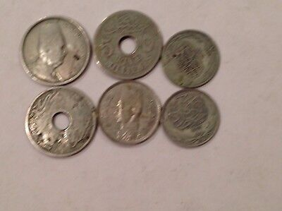 6 X Egypt Coins, Incl. Silver.