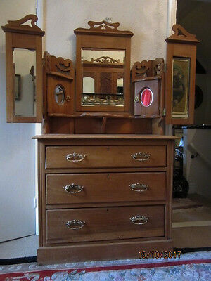 Edwardian dressing table / chest of drawers. Upcycling project.