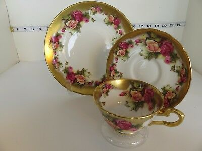 Royal Chelsea Golden Rose Trio Cup Saucer B &b Plate  Gold Trim