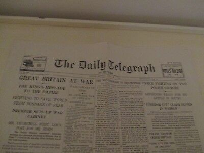 THE DAILY TELEGRAPH GREAT BRITAIN AT WAR NEWSPAPER SEPTEMBER 4th 1939