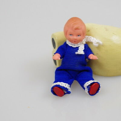 Vintage miniature doll baby rubber,Germany,in original clothes
