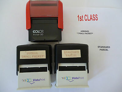 3 x Vistaprint Postage Stampers 1st Class, Airmail Small Packet & Small Packet