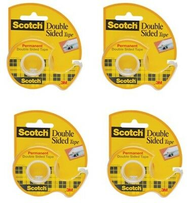 """3M Double-Sided Tape with Dispenser, Permanent, 1/2"""" X 250"""" , Clear - 4 Rolls"""