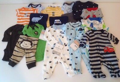 Carter's Preemie Baby Boy Clothing NWT Re-born Newborn Sleepers Outfits 17 Pcs