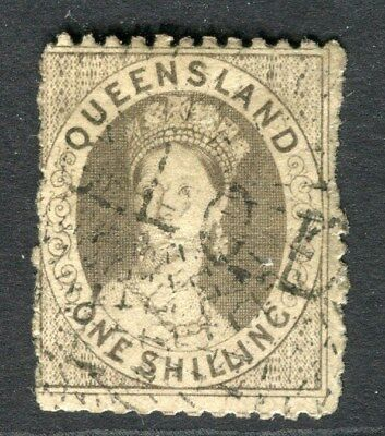 AUSTRALIA  QUEENSLAND 1868-70s early classic 1s. used value