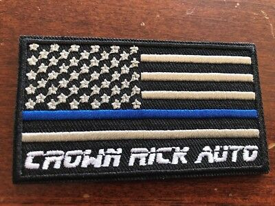 Embroidered USA Flag Thin Blue Line Police Patch Crown Rick Auto